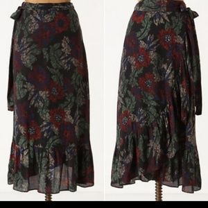 Maple Anthropologie Floral Midi Wrap Skirt XS